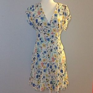 Zara button front floral sun dress
